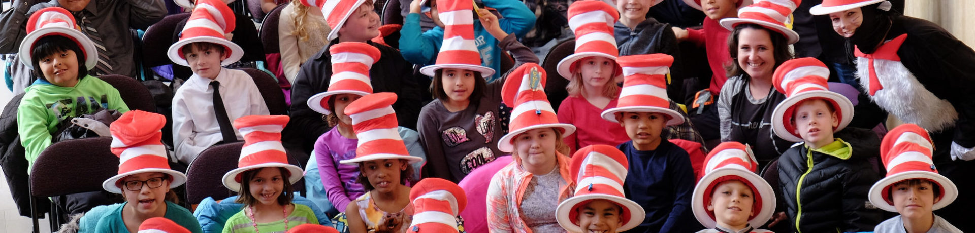Read Across America kids with hats